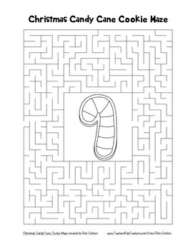 """""""Christmas Candy Cane Cookie"""" Maze! Holiday FUN! (Color and Black Line)"""