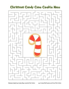 """""""Christmas Candy Cane Cookie"""" Maze! Holiday FUN! (Color an"""