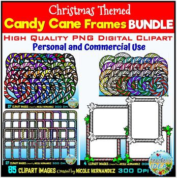 Christmas Candy Cane Frames Clipart BUNDLE