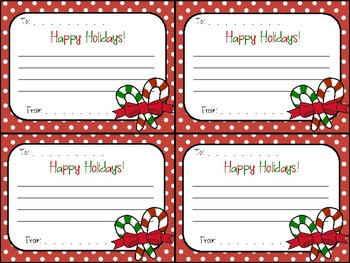 Christmas Candy Cane.Christmas Candy Cane Gram Happy Holidays Note For Classmates Team Coworkers
