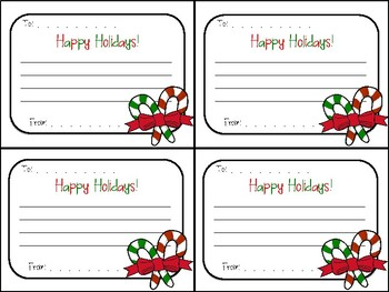 "Christmas Candy Cane Gram ""Happy Holidays"" Note for Classmates, Team, Coworkers"