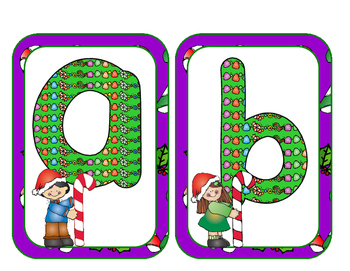 Christmas Candy Cane Kids Lower Case Letter Cards
