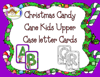 Christmas Candy Cane Kids Upper Case letter Cards