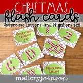 Christmas Candy Cane Letters and Numbers Flash Cards