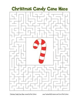 """""""Christmas Candy Cane"""" Maze! Holiday FUN! (Color and Black Line)"""