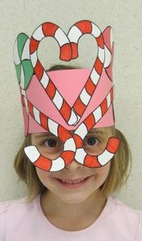 Christmas Candy Cane Peppermint Sentence Strip Hat Mask