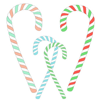 Christmas Candy Canes Clipart. 24 total elements. PNG files.