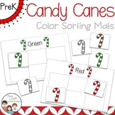 Christmas Candy Canes Color Sorting Mats and Worksheets