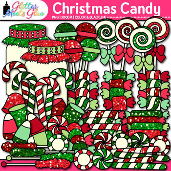 Christmas Candy Clip Art {Glitter Lollipops, Sweets, & Jars for Scrapbooking}