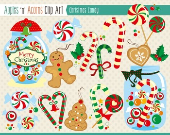Christmas Candy Clip Art - color and outlines