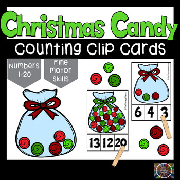 Christmas Candy Counting Number Clip Cards No Prep 1 - 20