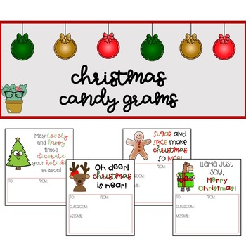 Holiday Candy Grams Worksheets Teaching Resources Tpt