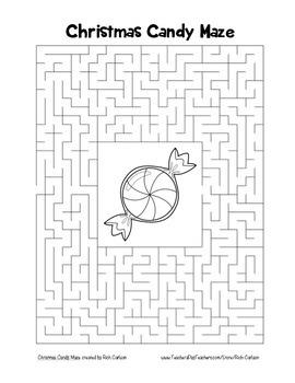 """""""Christmas Candy"""" Maze! Holiday FUN! (Color and Black Line)"""