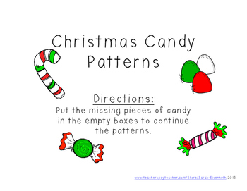 Christmas Candy Patterns File Folder Game