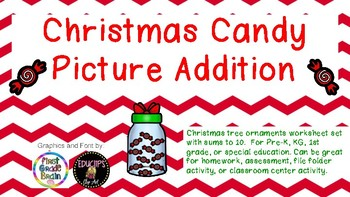 Christmas Candy Picture Addition Sums to 10