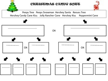 Christmas Candy Sort - using a dichotomous key
