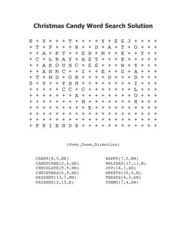 """""""Christmas Candy"""" Word Search – Holiday Fun! (Color and Black Line)"""