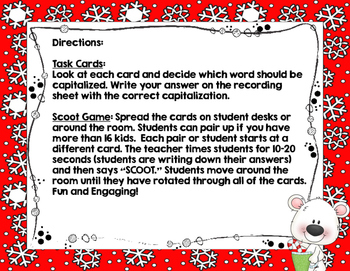 Christmas Capitalizing Scoot Game- Task Cards or Center