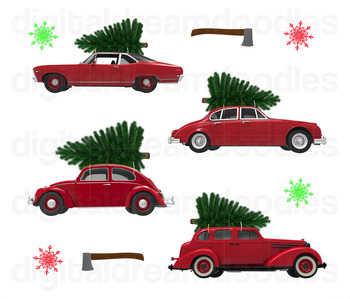 Christmas Car Clip Art - Xmas Tree on Classic Cars Digital Graphics
