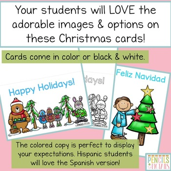 Christmas Card Freebie - 3 Greeting Cards in Color & Black & White
