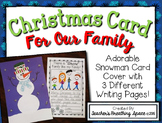 Christmas Card --- Parent Christmas Card with a Snowman Theme