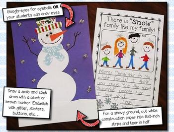 Christmas Card --- Parent Christmas Card with a Snowman Theme