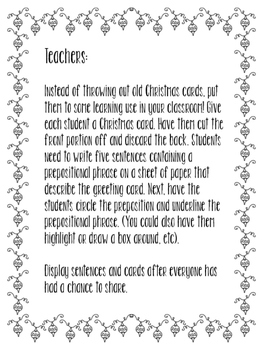 Christmas Card Prepositions
