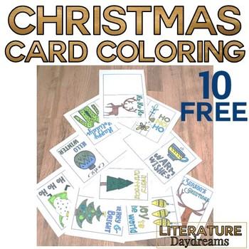Christmas Card coloring template set FREEBIE