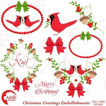 Christmas Cardinal Clipart, Yuletide Frames and Embellishments, AMB-1464