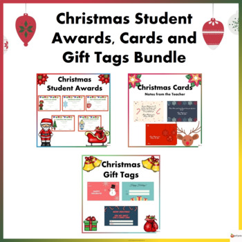 Christmas Cards Awards And Gift Tags Bundle By A Plus Learning
