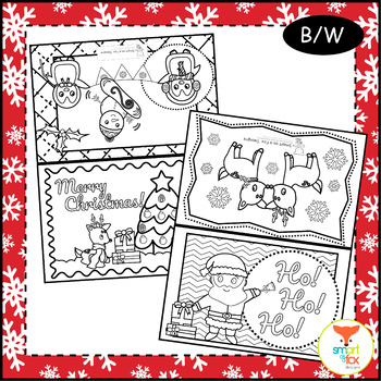 christmas cards foldable craft and coloring printable - Coloring Christmas Cards 2