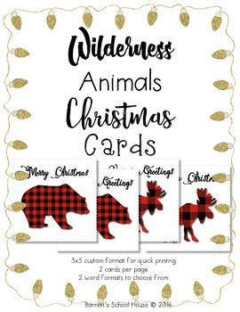 Christmas Cards Quick Printables, Wilderness Animals, Plaid Cards