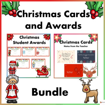 Christmas Cards And Awards Bundle By A Plus Learning Tpt
