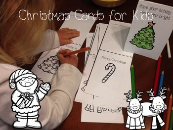 Christmas Color by Number & Christmas Cards for Kids Bundle