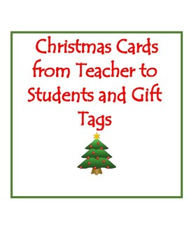 Christmas Cards For Teachers.Christmas Cards From Teacher To Student Worksheets