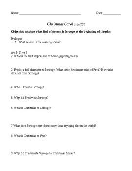 Christmas Carol Act I- questions