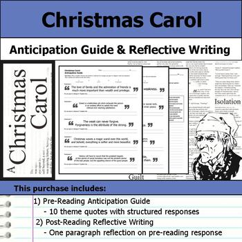 Christmas Carol - Anticipation Guide & Post Reading Reflection