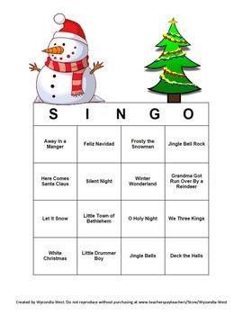 Christmas Carol Bingo (S-I-N-G-O)