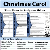 Christmas Carol - Character Analysis Packet, Theme Connections, & Project