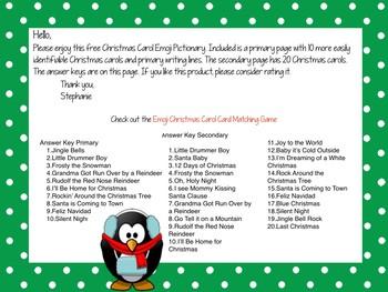 Winter Activity~ Christmas Carol Emoji Pictionary