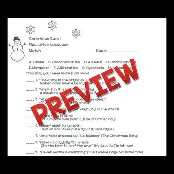 Christmas Activities Christmas Carol Figurative Language Match | TpT