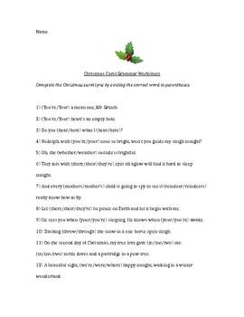 Christmas Carol Homophone Grammar Worksheet