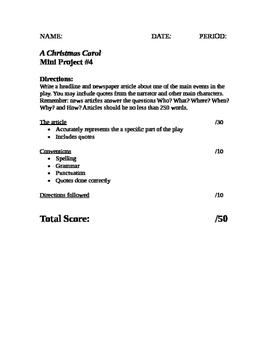 Christmas Carol Project Rubrics