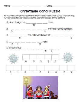 Christmas Carol Puzzles {Decode the Secret Message}
