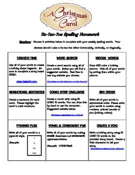 Christmas Carol Spelling Tic-Tac-Toe Board