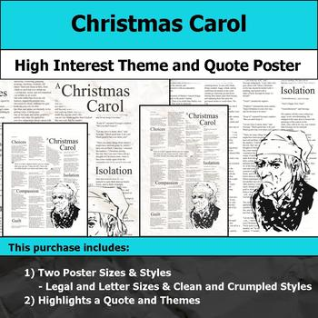Christmas Carol - Visual Theme and Quote Poster for Bulletin Boards
