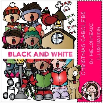 Melonheadz: Christmas Carolers clip art - BLACK AND WHITE