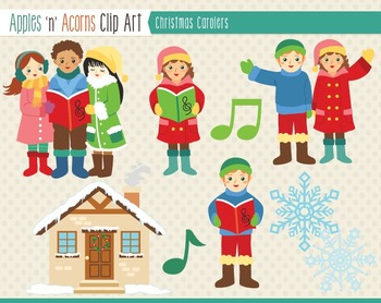 Christmas Carolers Clip Art - color and outlines