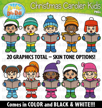 Christmas Carolers Kid Characters Clipart — Includes 20 Graphics!