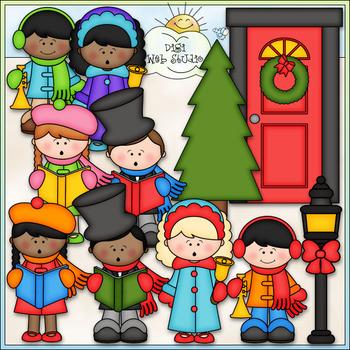 Christmas Caroling - CU Clip Art & B&W Set